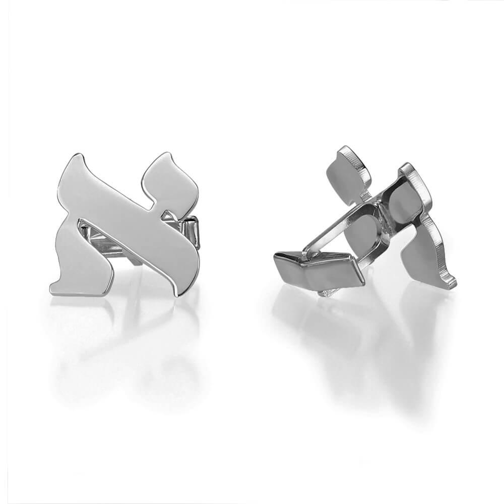 Hebrew Initial Cufflinks in Sterling Silver - Baltinester Jewelry