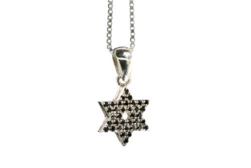 Small Onyx Studded Star of David Pendant - Baltinester Jewelry