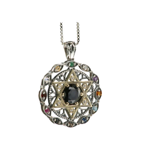 Twelve Stone Evil Eye Star of David Onyx Pendant - Baltinester Jewelry