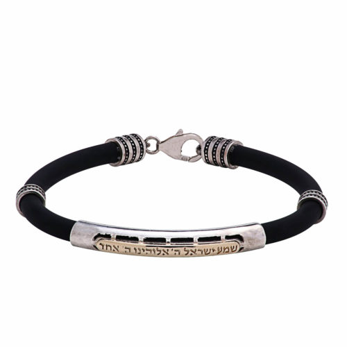 Black Shema Yisrael Men's Bracelet with Silver and Gold - Baltinester Jewelry