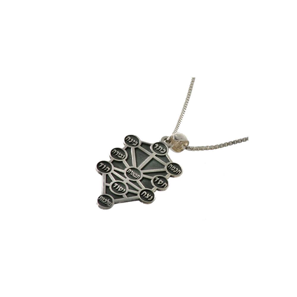 Ten Sephirot Oxidized Silver Kabbalah Pendant - Baltinester Jewelry