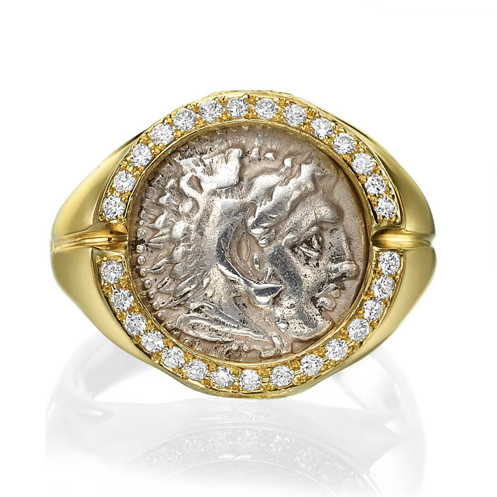 Alexander Coin Diamond Signet Ring 3 - Baltinester Jewelry