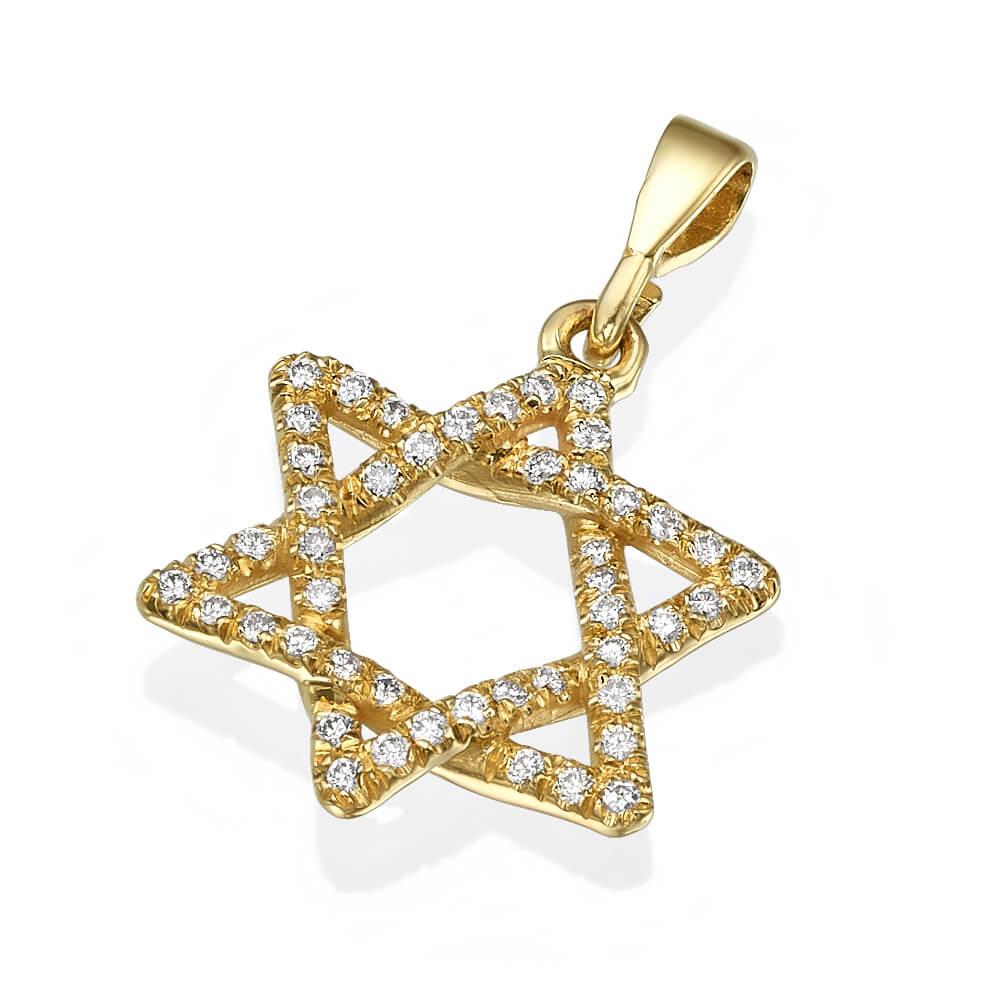Interwoven Diamond Star of David Pendant - Baltinester Jewelry