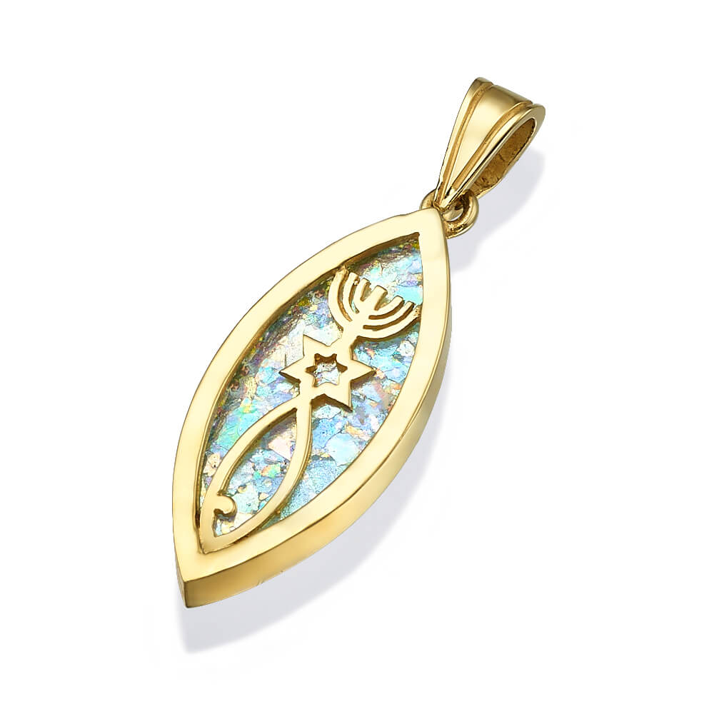 14k Gold and Roman Glass Pendant with Three Symbols - Baltinester Jewelry
