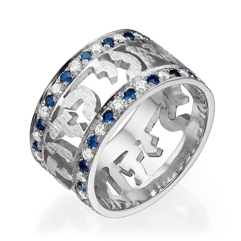 Sapphire Diamond Ani Ledodi Wedding Ring 14k White Gold - Baltinester Jewelry