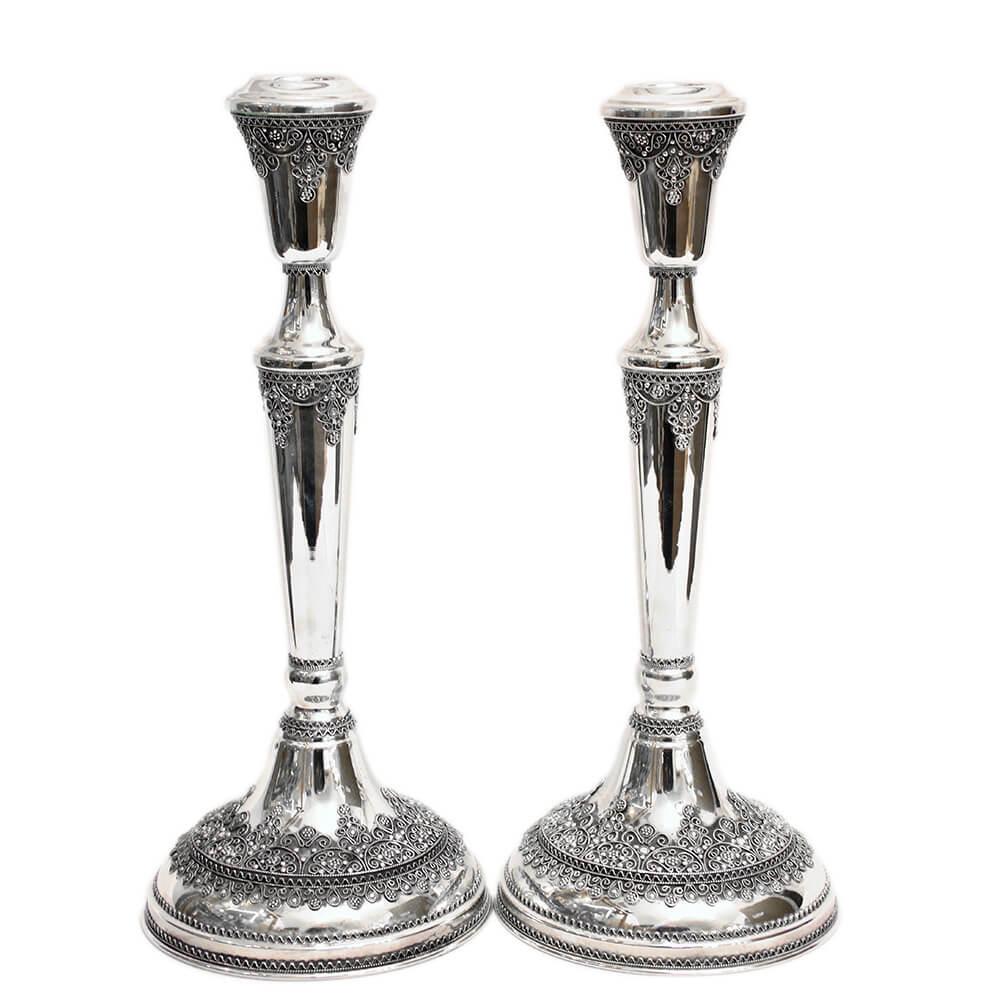 Tall Silver Filigree Shabbat Candlesticks - Baltinester Jewelry