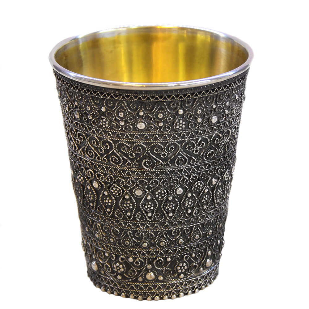 Full Filigree Sterling Silver Small Kiddush Cup - Baltinester Jewelry