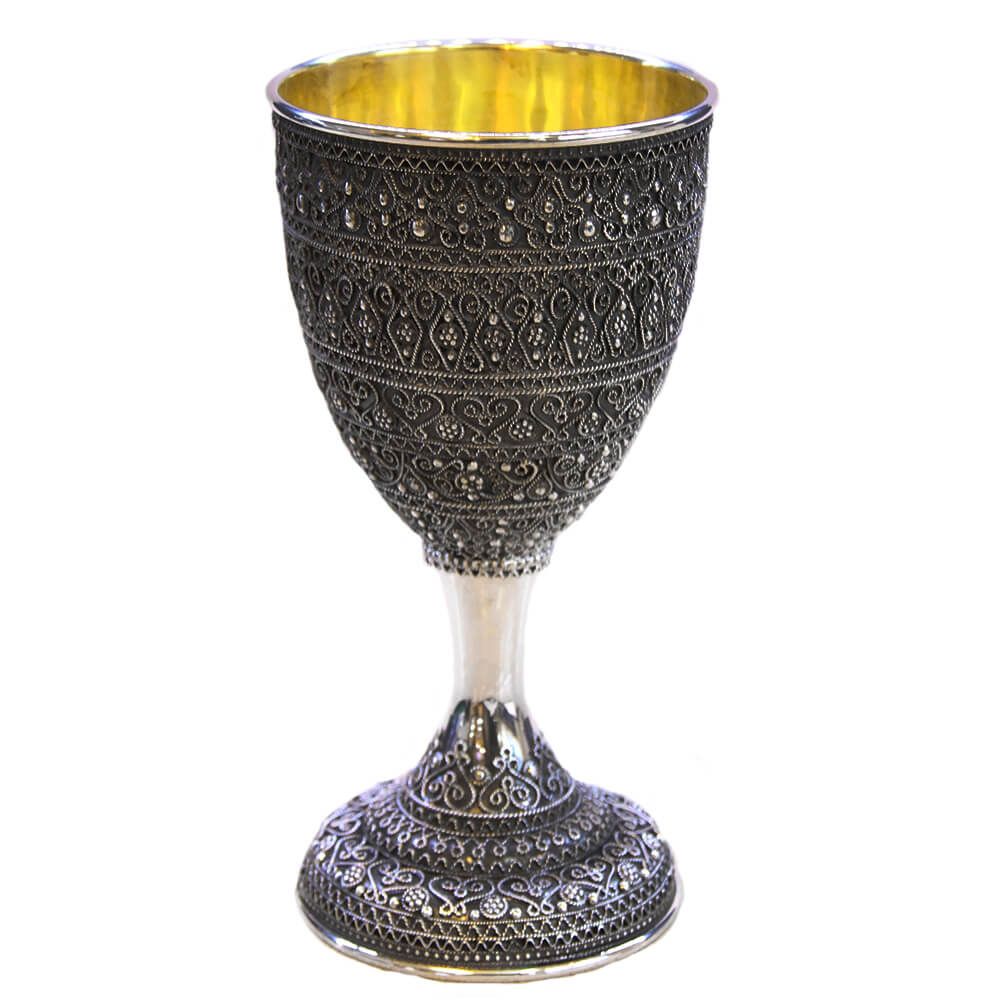 Elegantly Detailed Full Filigree Kiddush Cup - Baltinester Jewelry