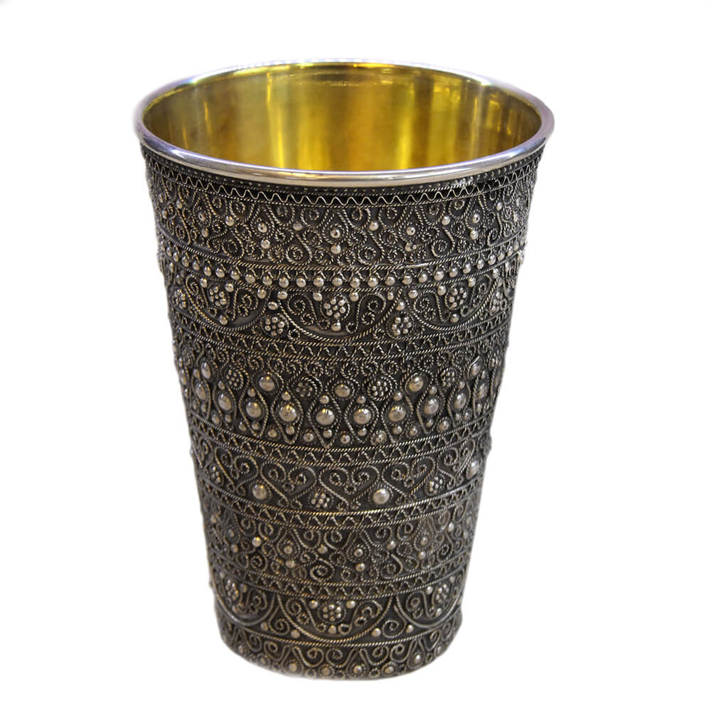 Detailed Full Filigree Kiddush Cup - Baltinester Jewelry