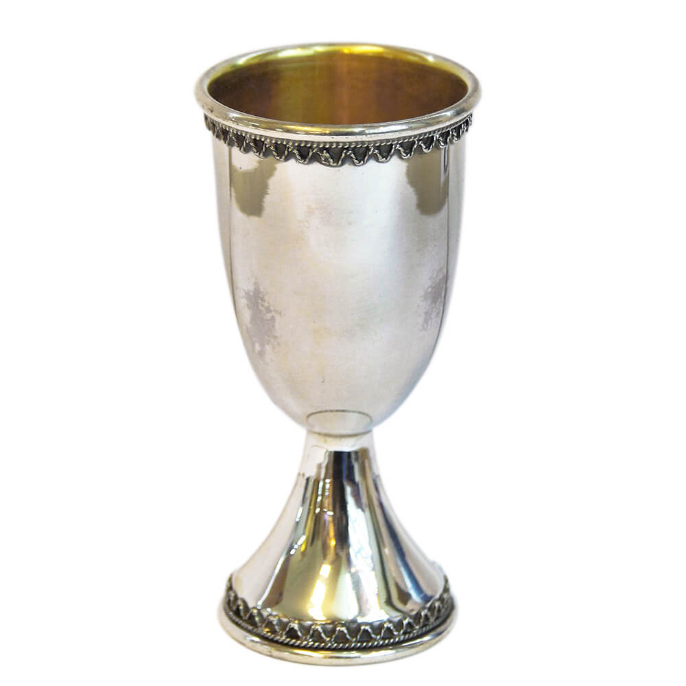Matte and Glossy Silver Kiddush Cup - Baltinester Jewelry