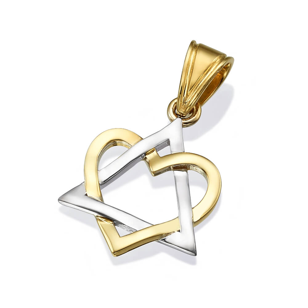 14K White and Yellow Gold Heart Star of David Pendant - Baltinester Jewelry