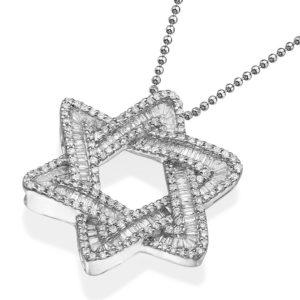 14k White Gold Diamond Magen David Necklace - Baltinester Jewelry