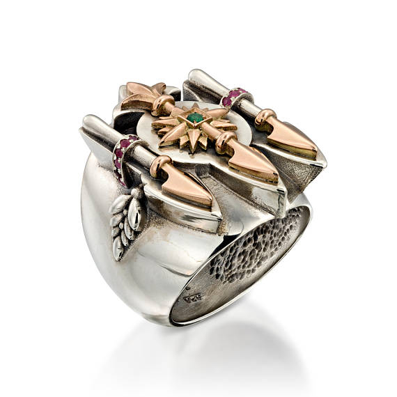 Silver and Gold Ring with Ruby and Emerald for Men - Baltinester Jewelry