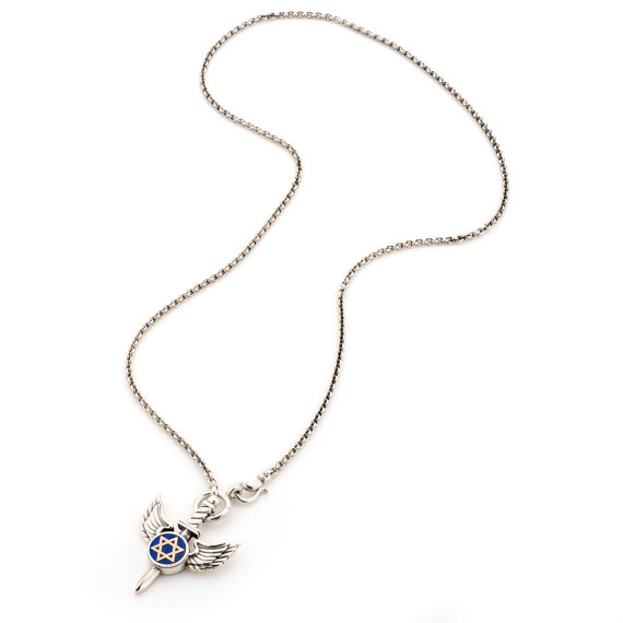 Silver and Blue Winged Star of David Necklace - Baltinester Jewelry