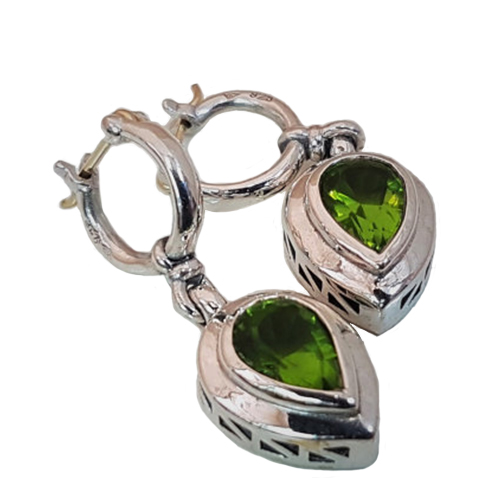 Peridot, Gold and Silver Dangle Earrings - Baltinester Jewelry