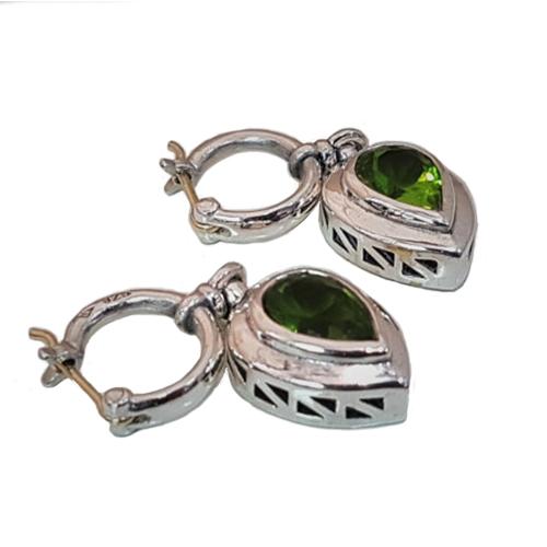 Peridot, Gold and Silver Dangle Earrings 2 - Baltinester Jewelry