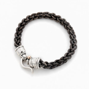 Titanium Bracelet With Silver Clasp and a Gold Dot - Baltinester Jewelry