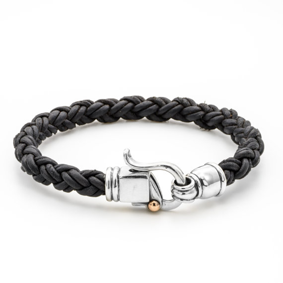 Braided Leather Bracelet with Byzantine Sterling Silver Clasp - Black - Baltinester Jewelry