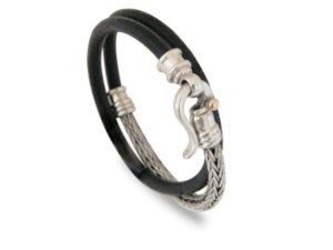 Braided Silver and Black Leather Bracelet - Baltinester Jewelry
