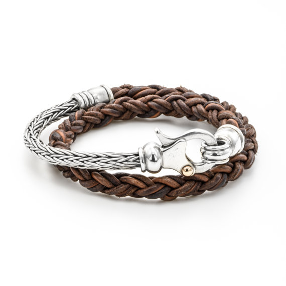 Leather and Sterling Silver Bracelet for Men - Baltinester Jewelry