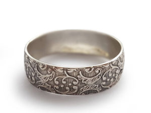 Oxidized Sterling Silver Ring With Floral Filigree - Baltinester Jewelry