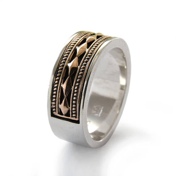 Two-Tone Ethnic Design Sterling Silver and Gold Ring - Baltinester Jewelry