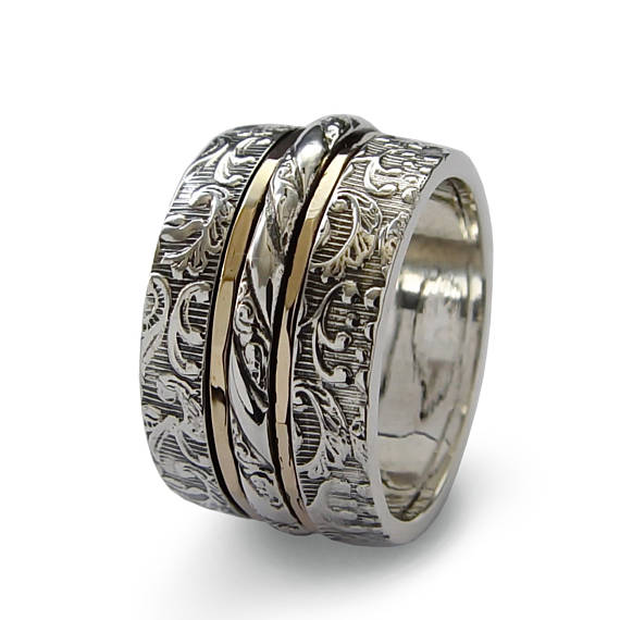 Classic Sterling Silver and Gold Spinner Ring With Floral Filigree - Baltinester Jewelry