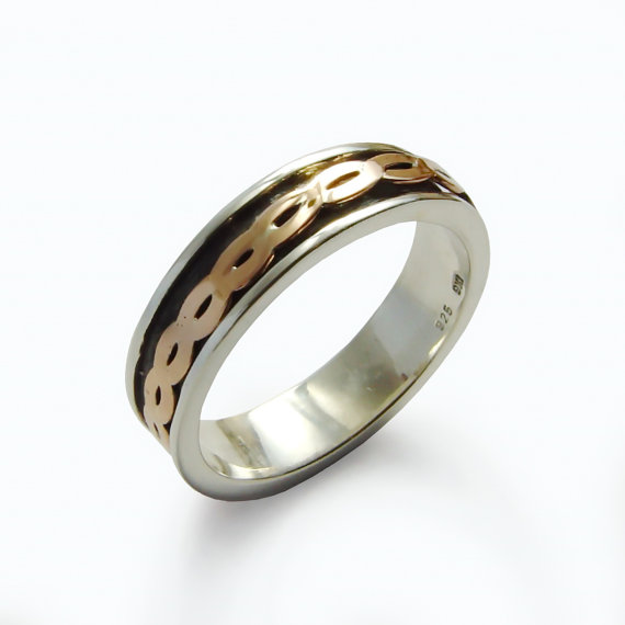Sterling Silver and 9k Gold Spinner Ring - Baltinester Jewelry