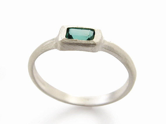 Square Green Quartz Sterling Silver Ring - Baltinester Jewelry