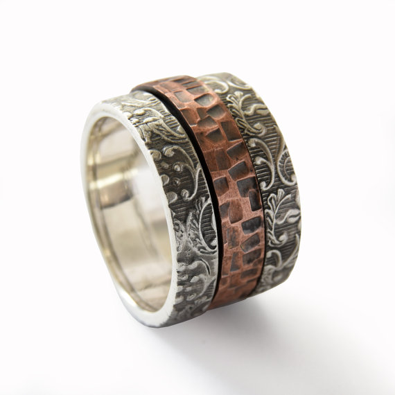 Sterling Silver and Copper Spinner Ring with Floral Filigree - Baltinester Jewelry