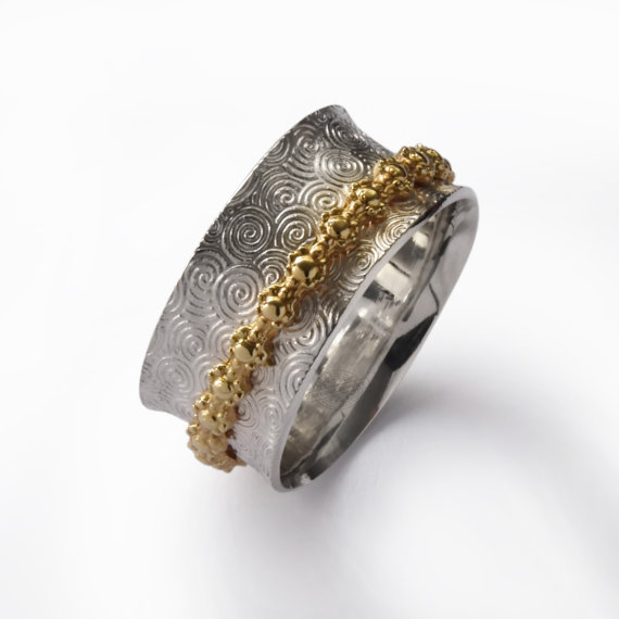 Sterling Silver and Brass Spinner Ring With Spiral and Floral Design - Baltinester Jewelry