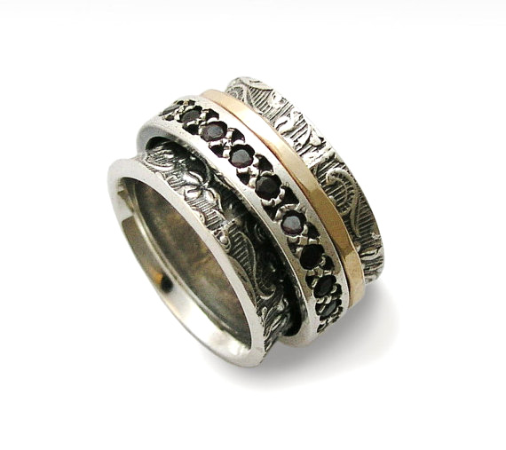 Garnet Stone Sterling Silver and Gold Spinner Ring - Baltinester Jewelry