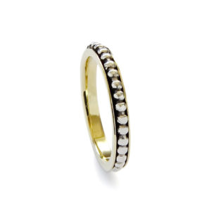 Sterling Silver and Brass Dotted Spinner Ring - Baltinester Jewelry