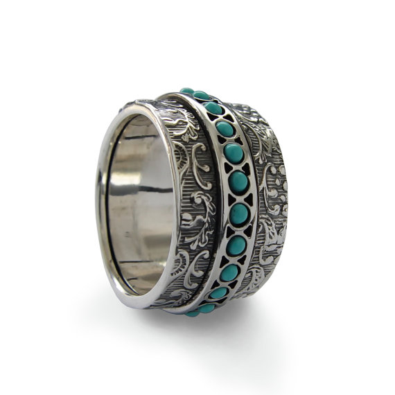 Sterling Silver Turquoise Spinner Ring With Filigree Design - Baltinester Jewelry