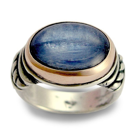 Blue Kyanite Stone Sterling Silver and Gold Ring - Baltinester Jewelry