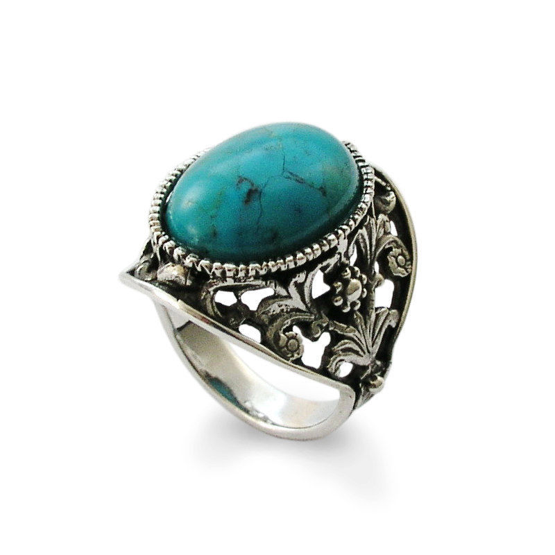 Sterling Silver Turquoise Botanical Ring - Baltinester Jewelry