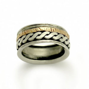 Rope Design Sterling Silver and Gold Spinner Ring - Baltinester Jewelry