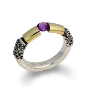 Amethyst Ring Sterling Silver and Gold - Baltinester Jewelry