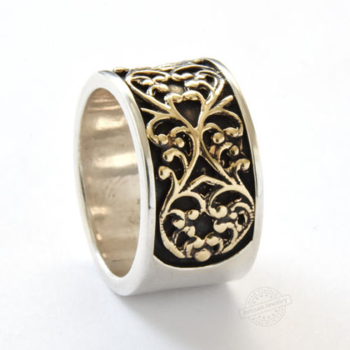 Vintage-Style Sterling Silver and Gold Ring - Baltinester Jewelry