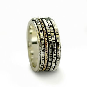 Classic 5 Spinner Oxidized Hammered Sterling Silver Gold Band - Baltinester Jewelry
