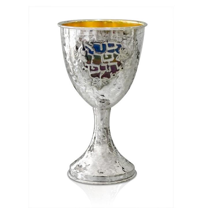 Levi Hammered Enamel Kiddush Cup - Baltinester Jewelry