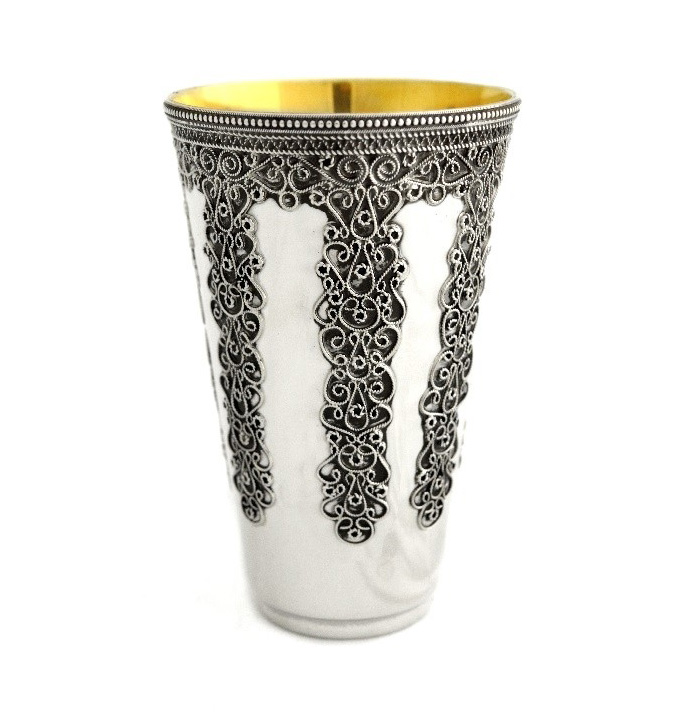 Netanel Silver Embellished Kiddush Cup - Baltinester Jewelry