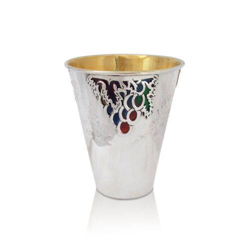 Micha Enameled Silver Kiddush Cup - Baltinester Jewelry