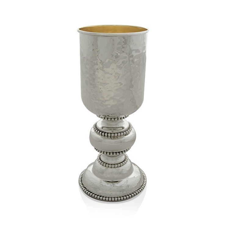 Mendel Hammered Sterling Silver Kiddush Cup - Baltinester Jewelry