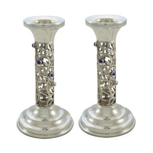 Tamar Sterling Silver Amethyst Candlesticks - Baltinester Jewelry