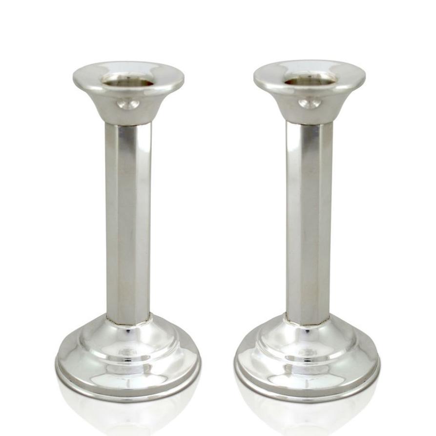 Yael Sterling Silver Column Candlesticks - Baltinester Jewelry