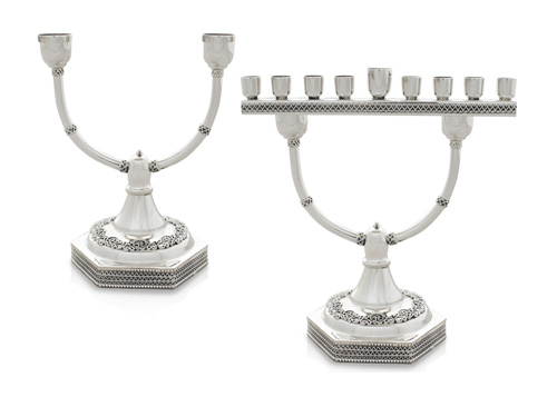 Two-In-One Sterling Silver Menorah Candelabra 2 - Baltinester Jewelry