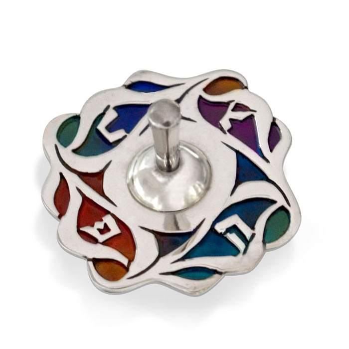 Colorful Gayla Hanukkah Sterling Silver Dreidel - Baltinester Jewelry