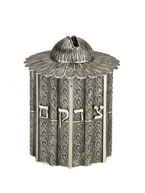 Round Filigree Sterling Silver Tzedakah Box - Baltinester Jewelry
