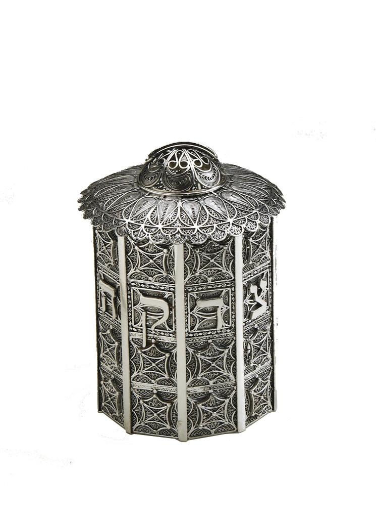 Column Sterling Silver Tzedakah Box - Baltinester Jewelry